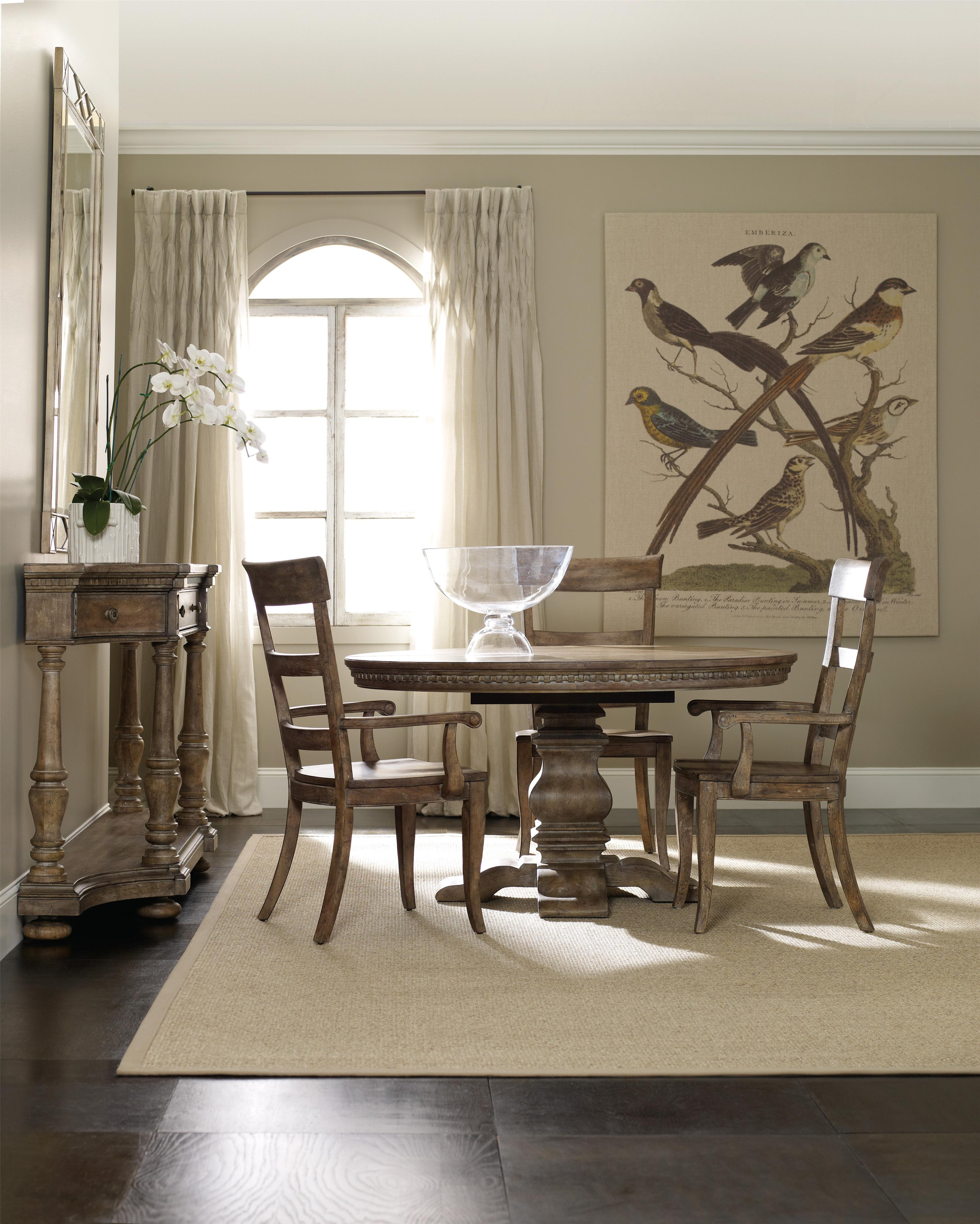 5pc Round Pedestal Drop Leaf Kitchen Table 4 Chairs: Hooker Furniture Sorella Round Dining Table With Pedestal