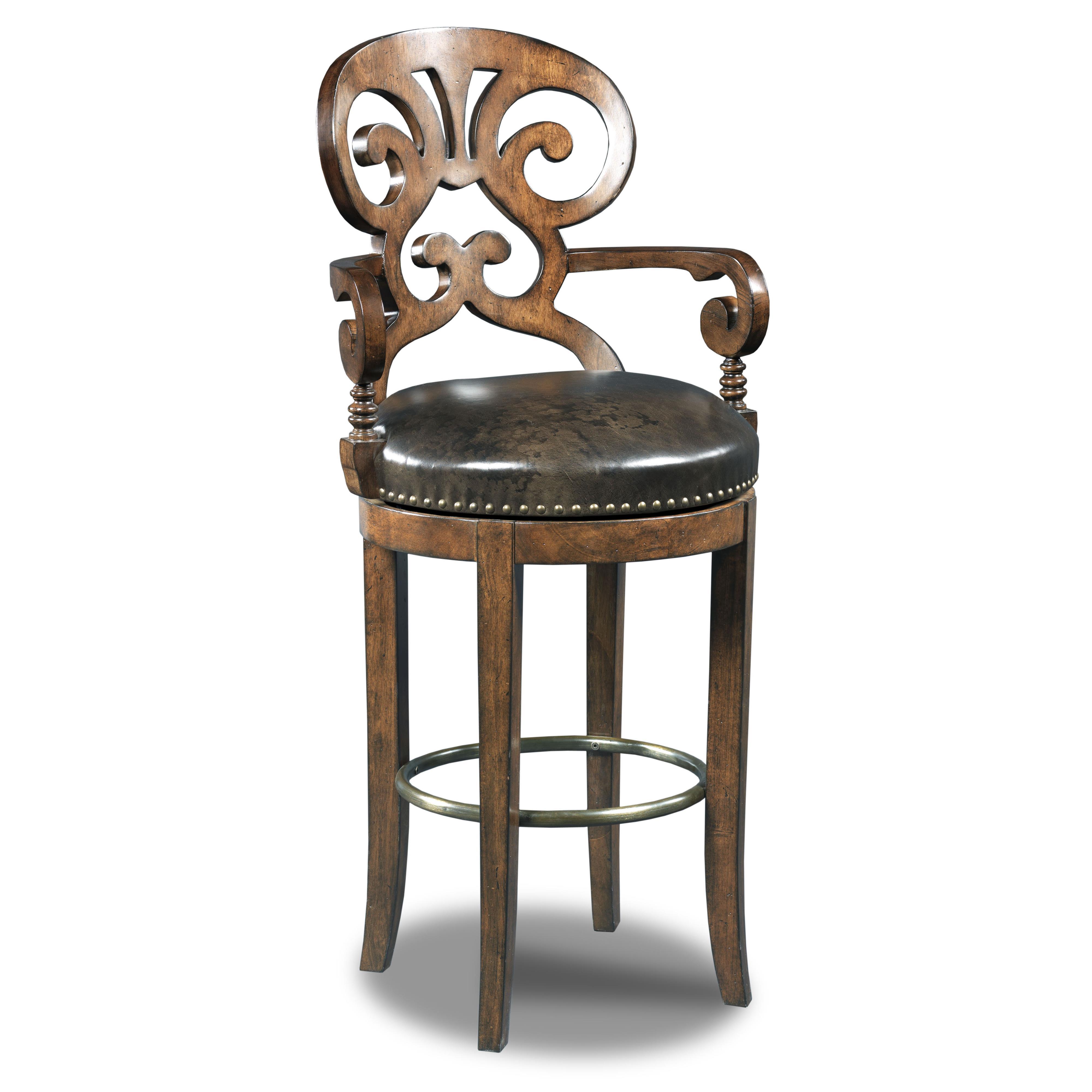 Hooker Furniture Stools Dark Jameson Traditional Leather Barstool - Item Number: 300-20016
