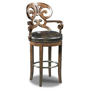 Hooker Furniture Stools Dark Jameson Traditional Leather Barstool