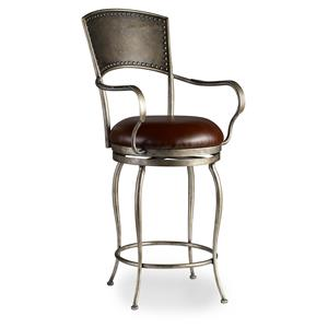 Hooker Furniture Stools Medium Metal Barstool with Leather Seat
