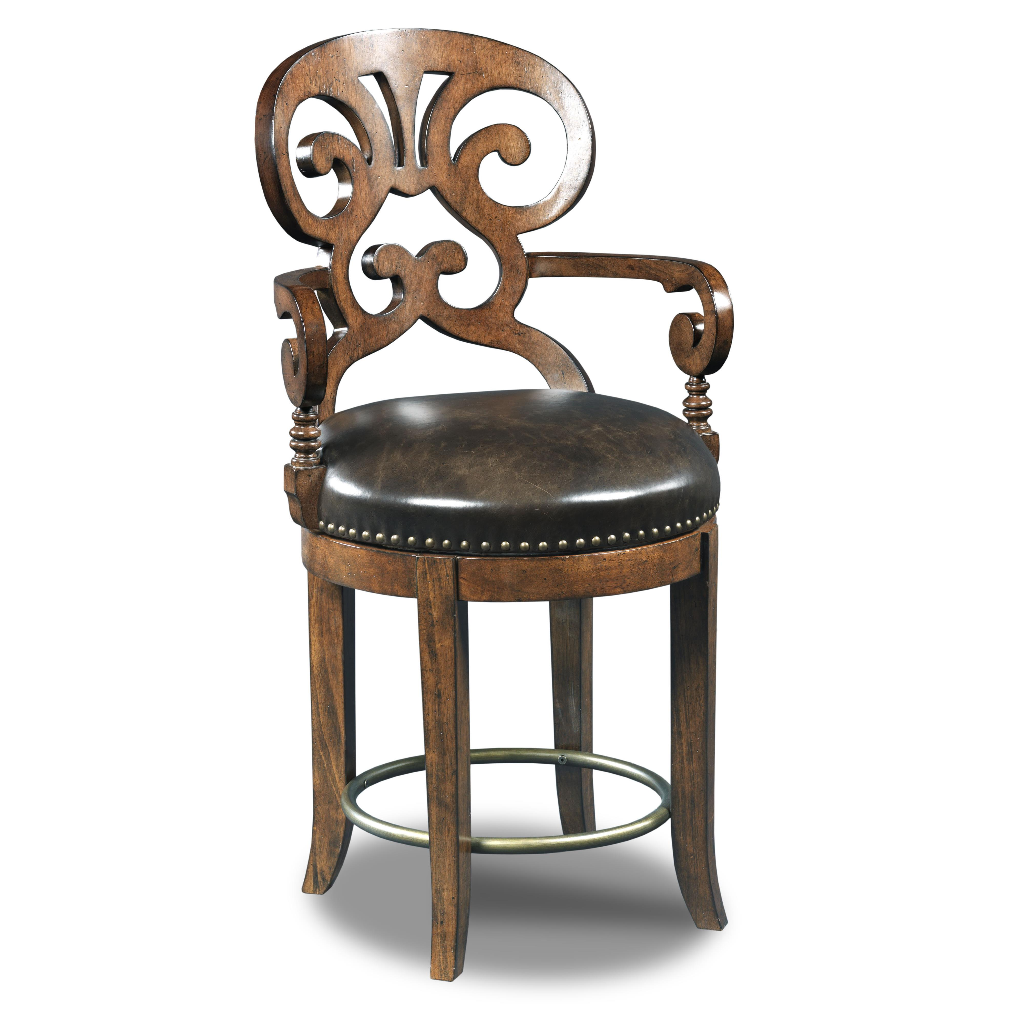Hooker Furniture Stools Dark Jameson Traditional Leather Counter Stool - Item Number: 300-25016