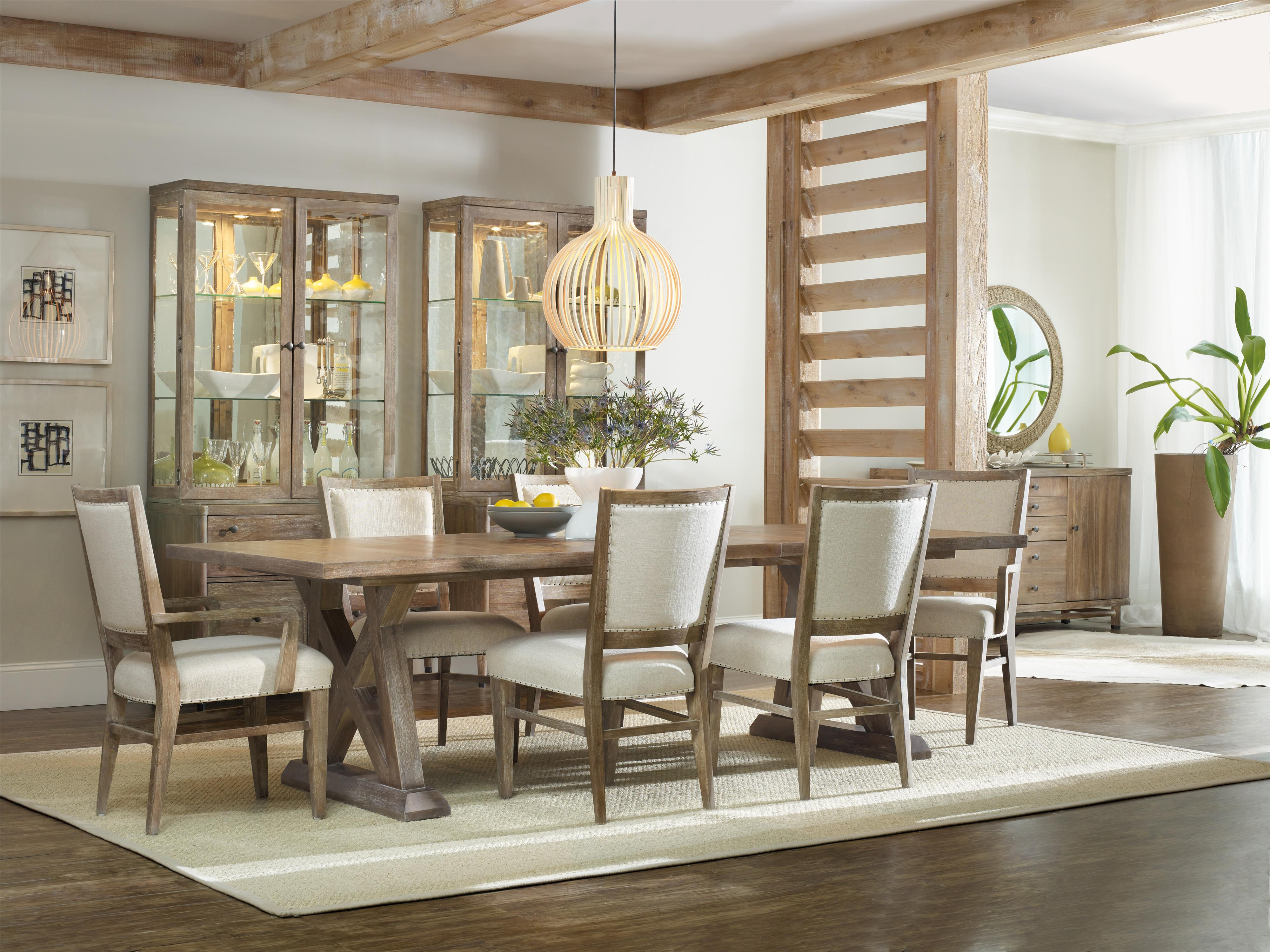 Hooker Furniture Studio 7H 7 Piece Dining Set with Geo Trestle Table and Stol Upholstered Chairs ...