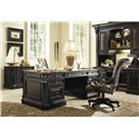 Hooker Furniture Telluride Leather Upholstered Tilt Swivel Executive Chair on Caster Base - Shown with Executive Desk