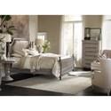 Hooker Furniture True Vintage King Leather Upholstered Poster Bed