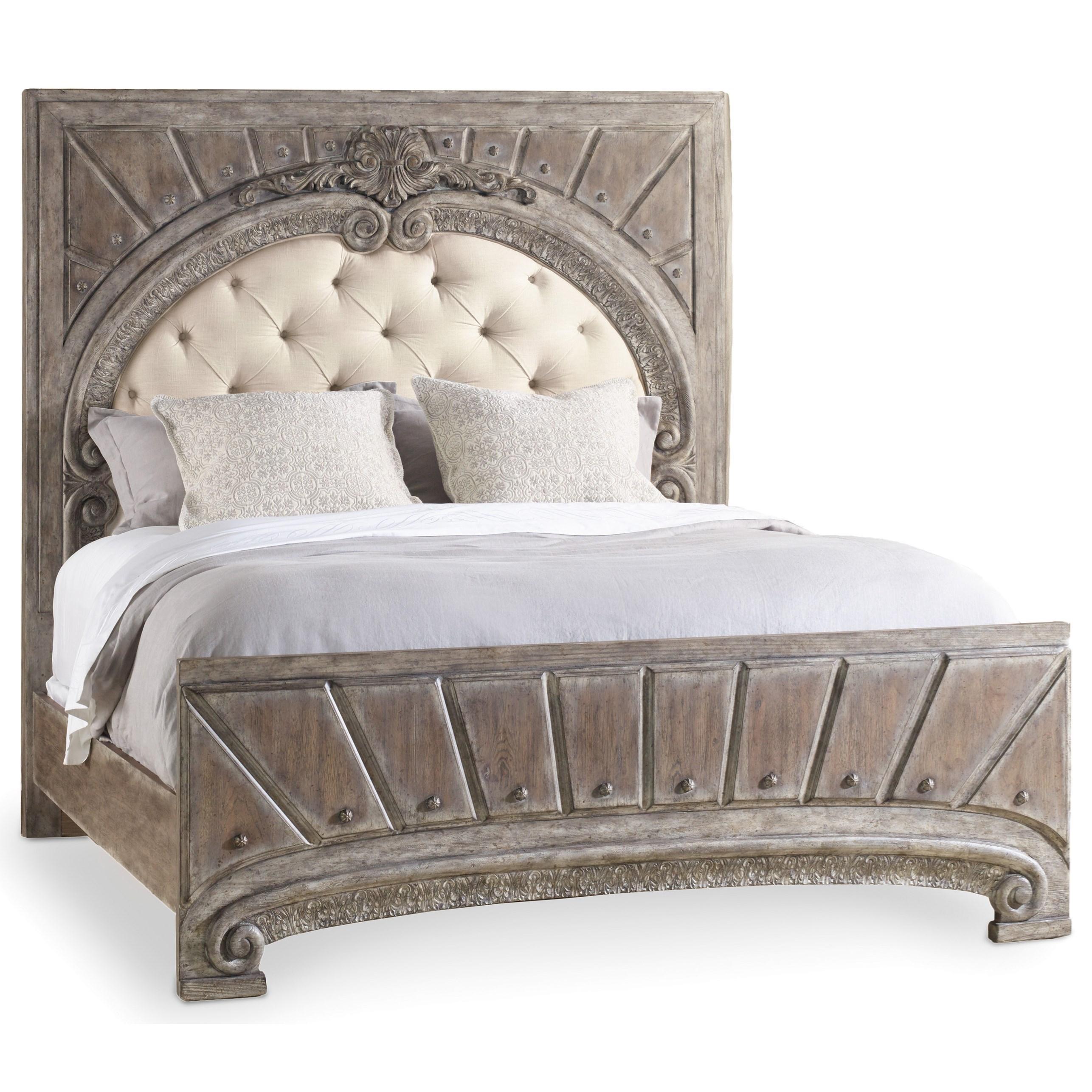 Hooker Furniture True Vintage California King Upholstered Panel Bed - Item Number: 5701-90860