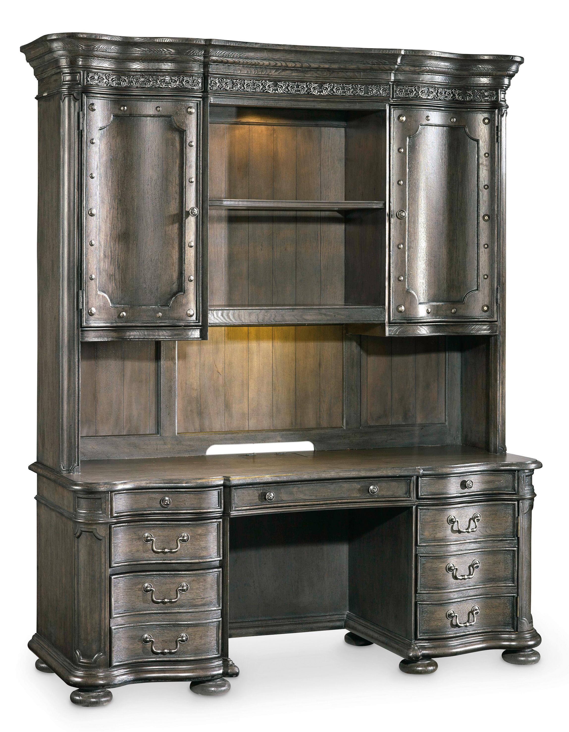 Hooker Furniture Vintage West Computer Credenza and Hutch - Item Number: 5700-10464+10467