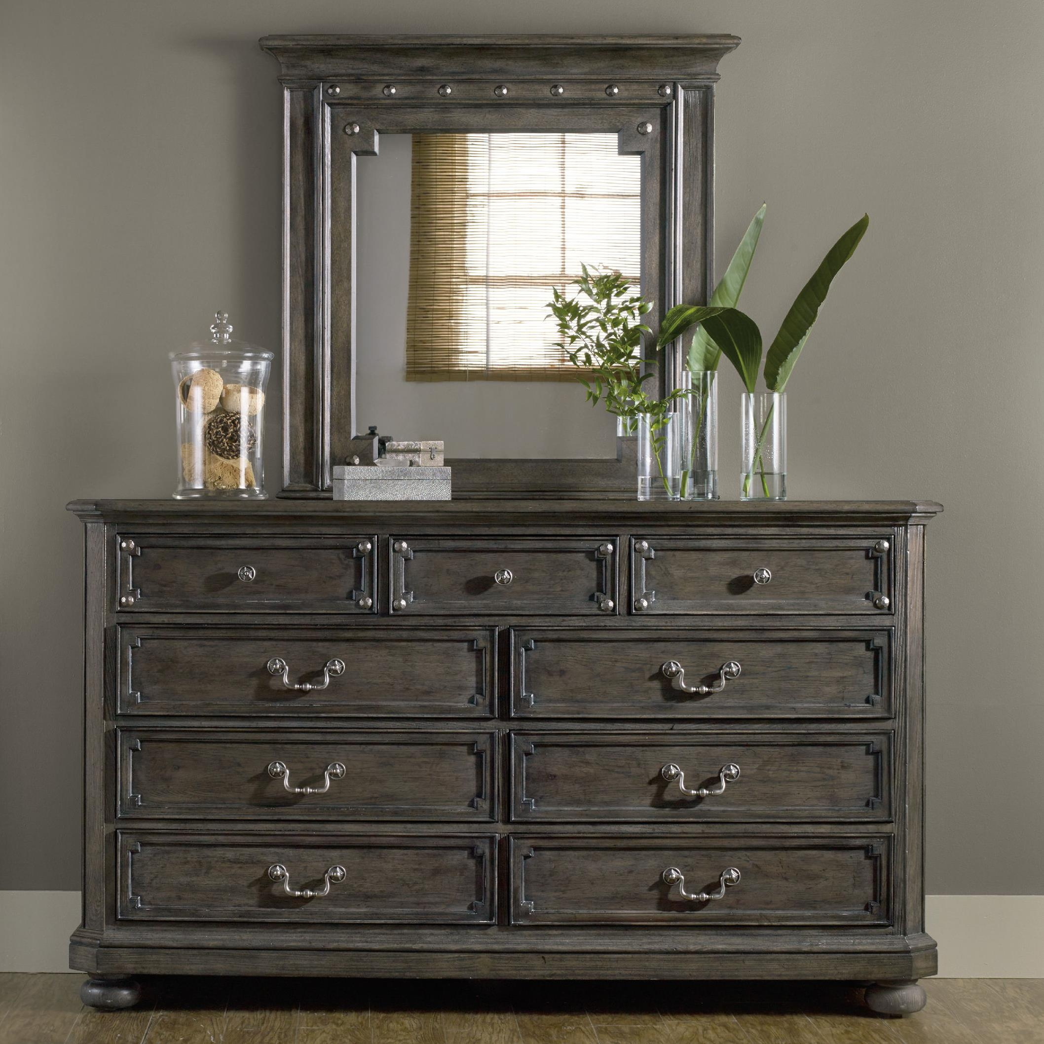 Hooker Furniture Vintage West Dresser and Mirror - Item Number: 5700-90002+90007