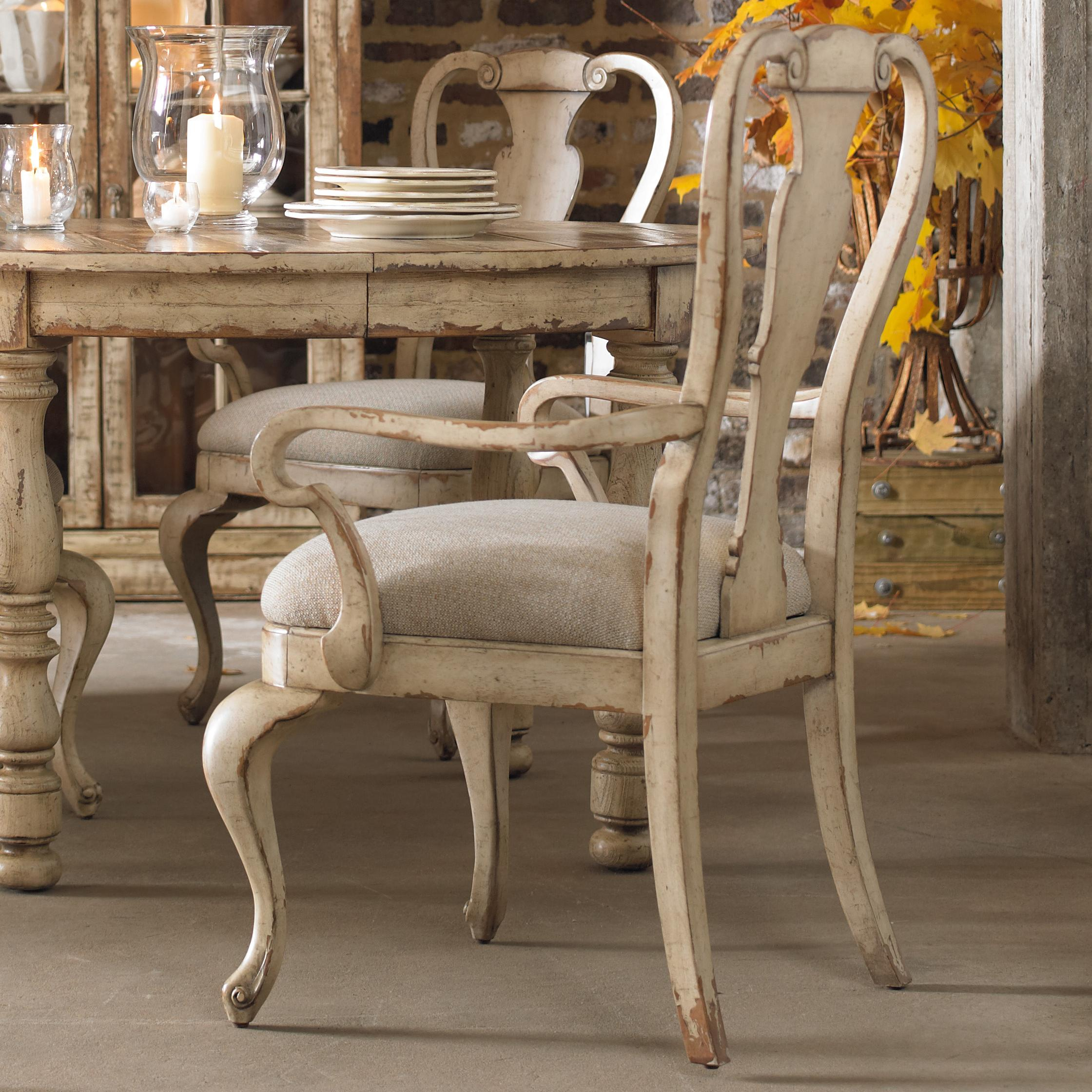 Hooker Furniture Wakefield Distressed White Splatback Arm Chair