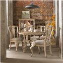 Hooker Furniture Wakefield Distressed White Splatback Side Chair with Upholstered Seat - Shown with Splatback Arm Chairs, Round Table, and Display Cabinet