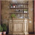 Hooker Furniture Wakefield Three-Door Three-Drawer Distressed Buffet with Decorative Metal Hutch Baker's Rack