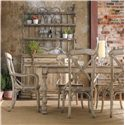 Hooker Furniture Wakefield Three-Door Three-Drawer Distressed Two-Tone Buffet - Shown with Metal Hutch, Rectangular Table, and X Back Arm and Side Chairs
