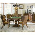 Hooker Furniture Waverly Place Reversible Top Poker Table - Shown with Tall Back Castered Fame Chairs and Shaped Front Credenza
