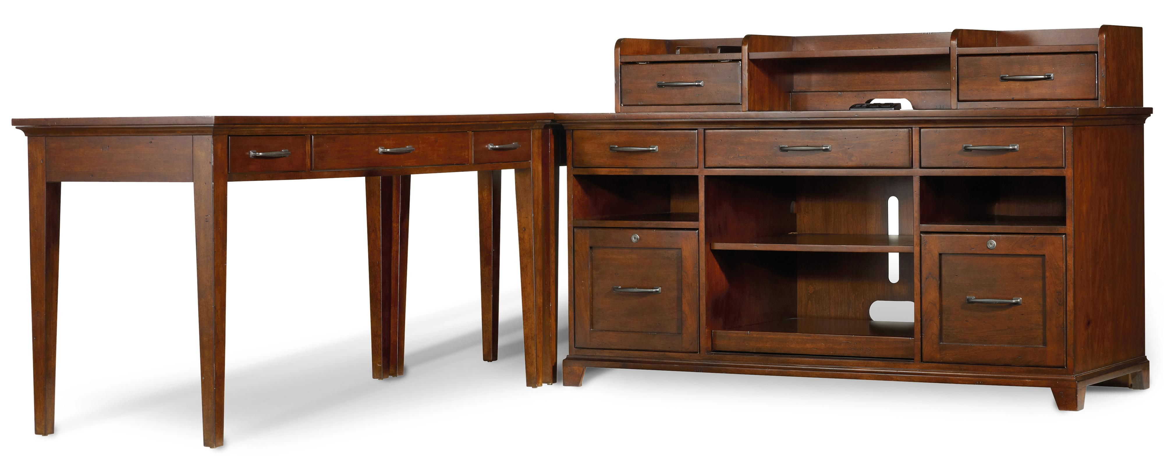 Hooker Furniture Wendover Four Piece L-Shaped Office Unit - Item Number: 1037-11364+11367+11484+11458
