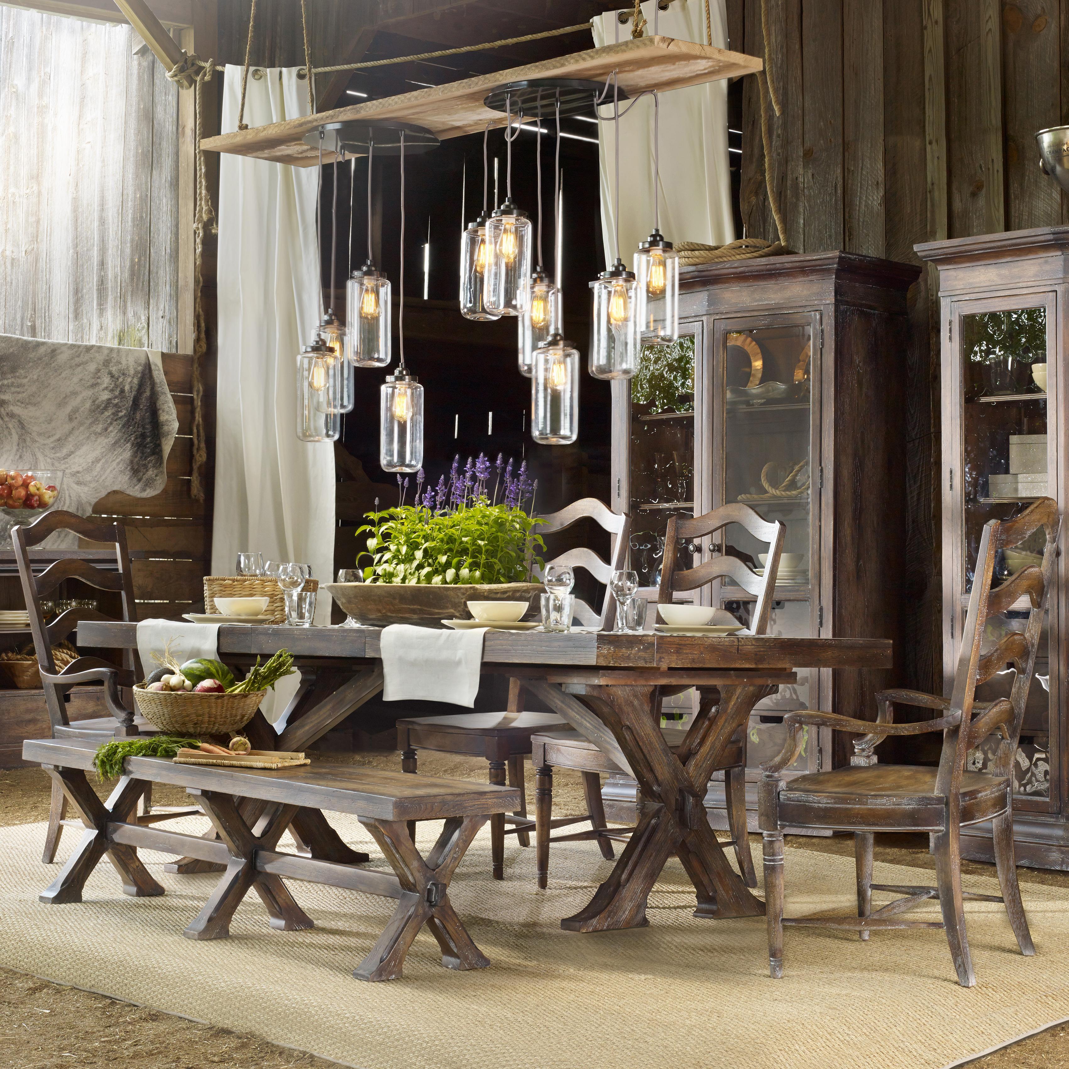 Hooker Furniture Willow Bend 6 Piece Dining Set - Item Number: 5343-75200+2x300+2x310+315