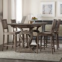 Hooker Furniture Woodlands 5-Piece Counter Table and Chair Set - Item Number: 5820-75206-84+4x75350-84