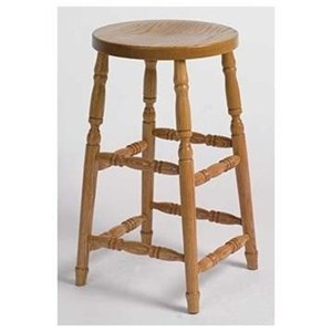 "Customizable Swivel Barstool 24"" Turned Leg"