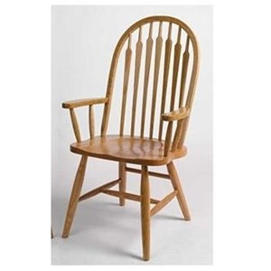 Solid Wood Customizable High Back Arm Chair