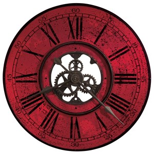 Red Brassworks Wall Clock