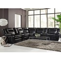 HTL 10137 Contemporary Reclining Sectional - Item Number: 10137 7Pc-BLJ-946