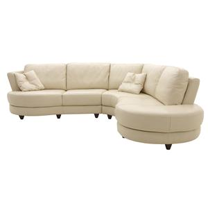 HTL 2177 2 Piece Round Leather Sectional