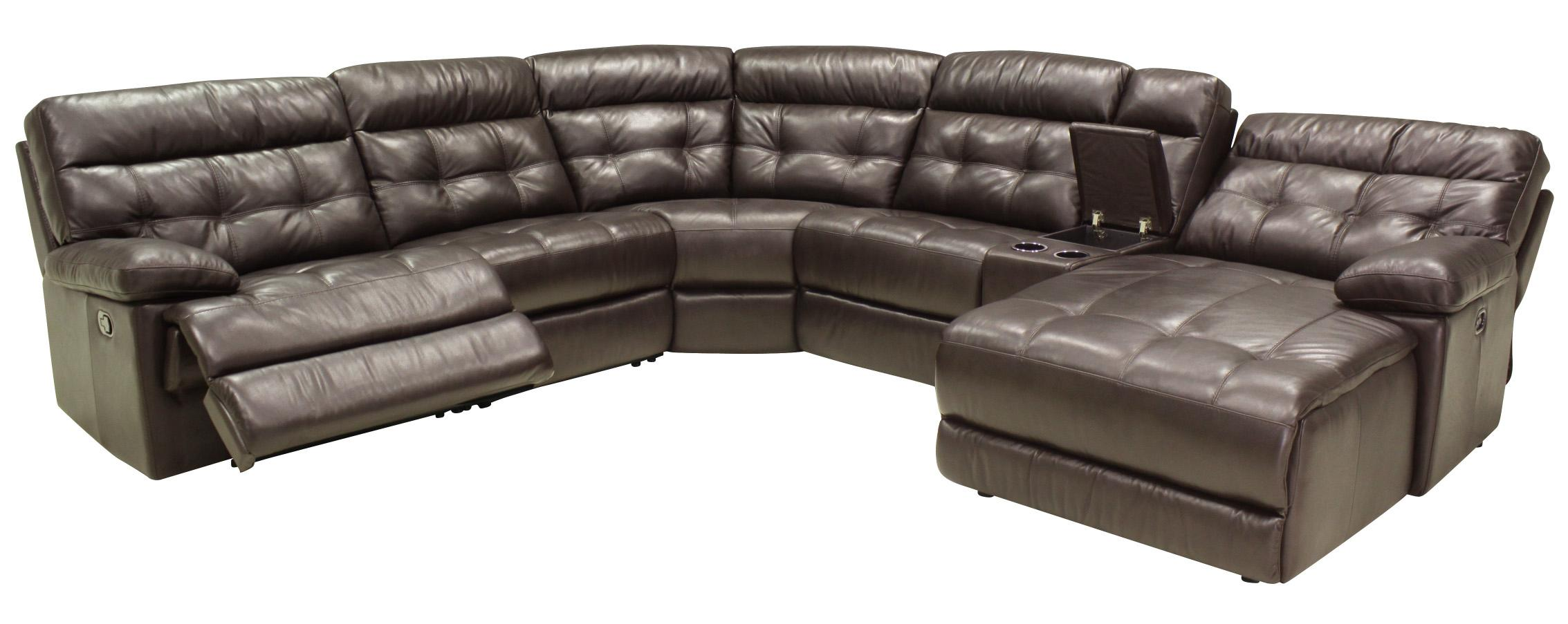 6 Pc Reclining Sectional Sofa w/ RAF Chaise