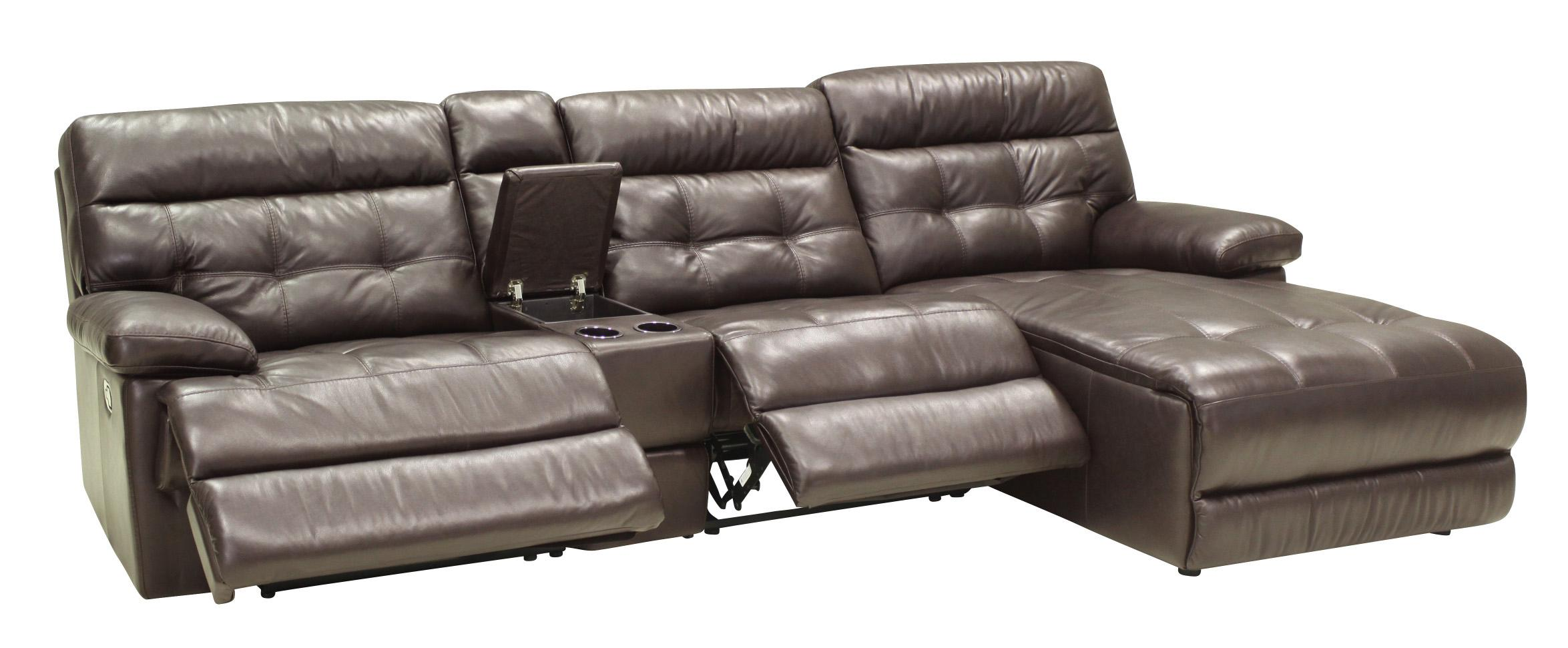 4 Pc Reclining Sectional w/ RAF Chaise