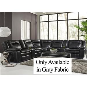 Warehouse M 10137 Gray Fabric Contemporary Reclining Sectional