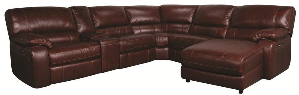 Morris Home Furnishings Xavier Xavier 6-Piece PWR Leather-Match* Sectional - Item Number: 148837505