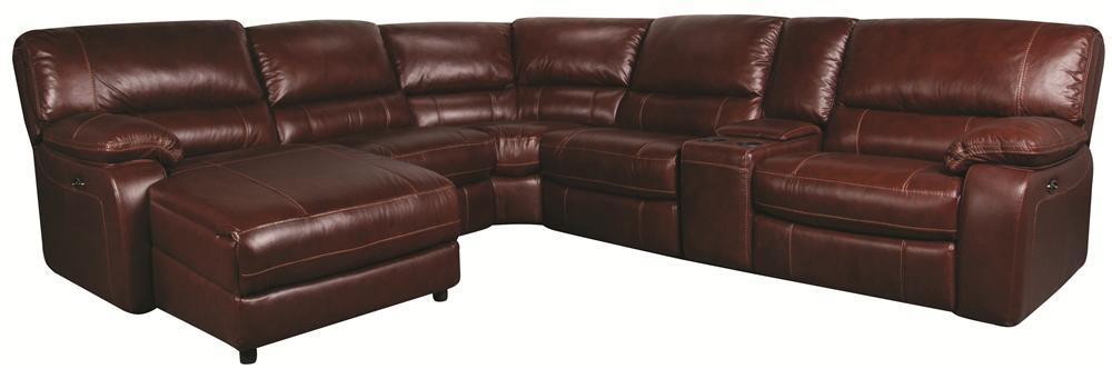 Morris Home Furnishings Xavier Xavier 6-Piece PWR Leather-Match* Sectional - Item Number: 148837525