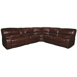 Morris Home Furnishings Xavier Xavier 6-Piece PWR Leather-Match* Sectional