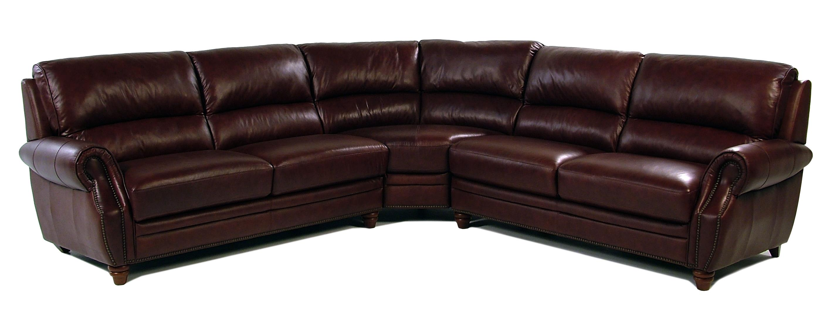 Giovani Barrister 3-Piece Traditional Style Leather Sectional - Item Number: 10441NH-2.5EL+2.5ER+C12