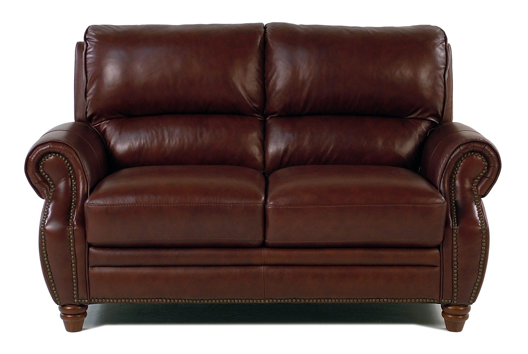 Giovani Barrister Traditional Leather Loveseat w/ Nailhead Tri - Item Number: 10441NH-2S