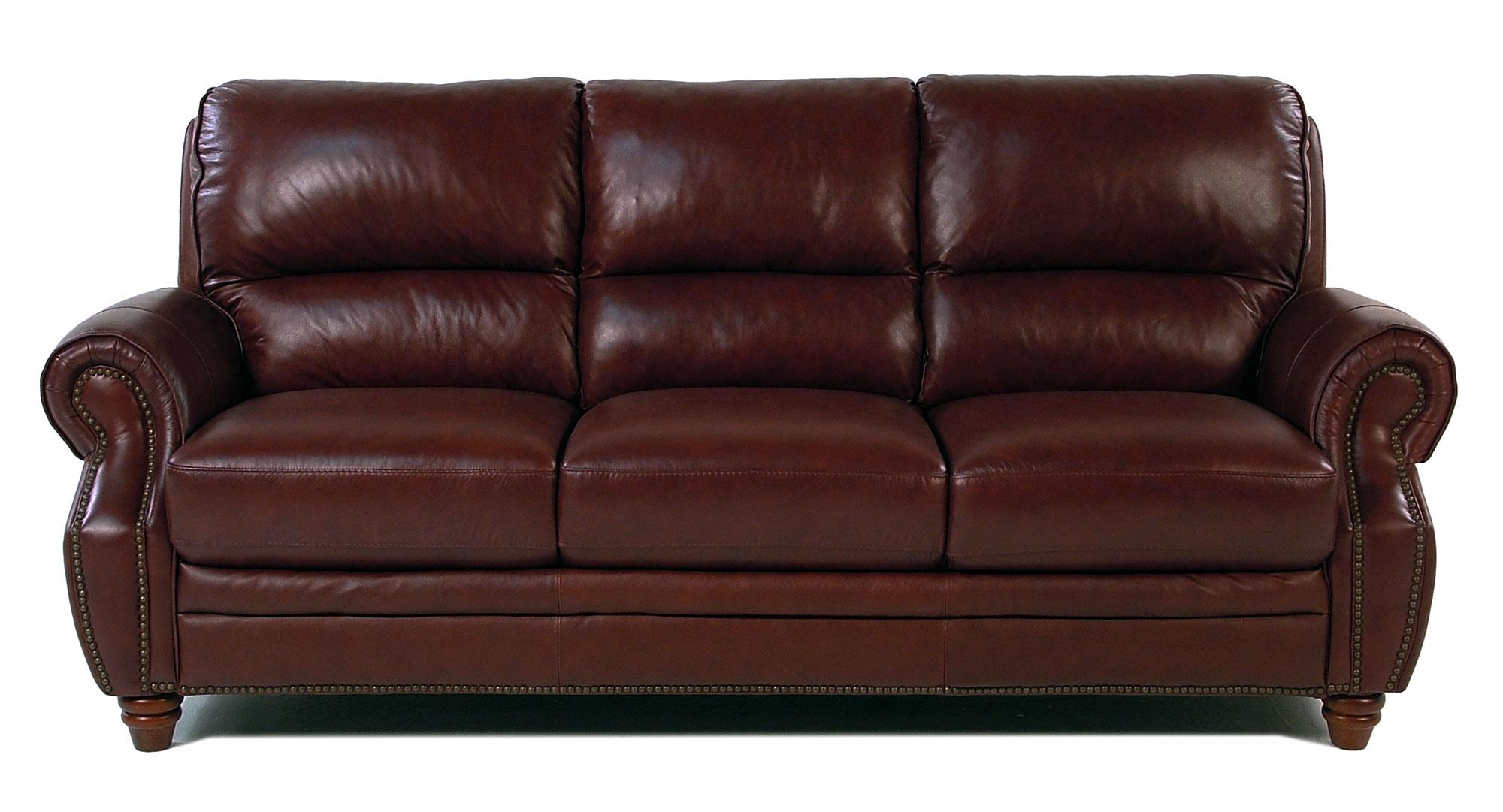 Giovani Barrister Traditional Leather Sofa w/ Nailhead Trim - Item Number: 10441NH-3S