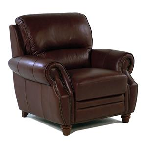 Giovani Barrister Traditional Leather Chair w/ Nailhead Trim