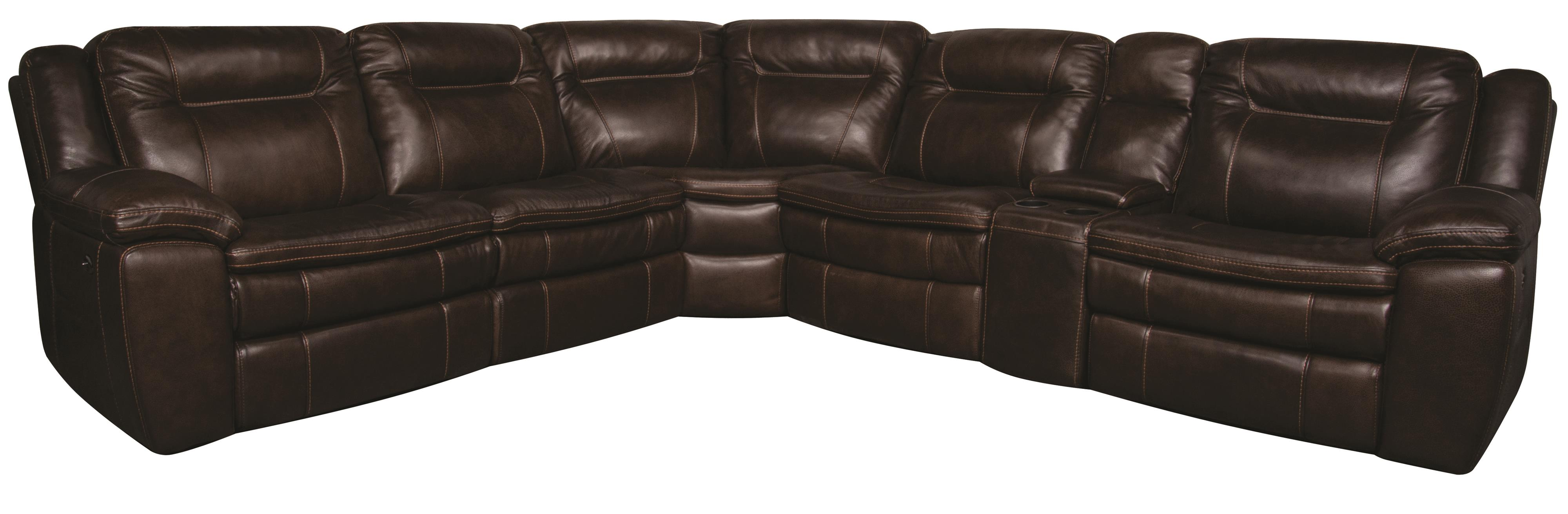Morris Home Furnishings Heath Heath 6-Piece PWR Leather-Match* Sectional - Item Number: 134871657