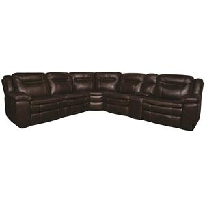 Morris Home Furnishings Heath Heath 6-Piece PWR Leather-Match* Sectional