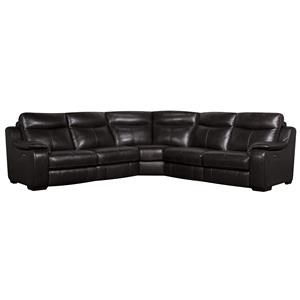 Morris Home Furnishings Jodi Jodi 5-Piece Power Leather-Match* Sectional
