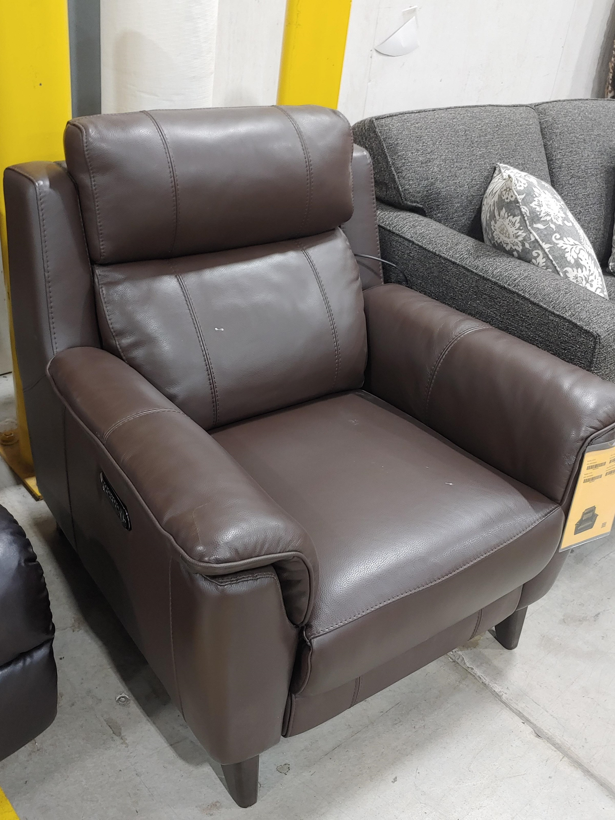 Last One Recliner Last One! Power Leather Match Recliner at Morris Home
