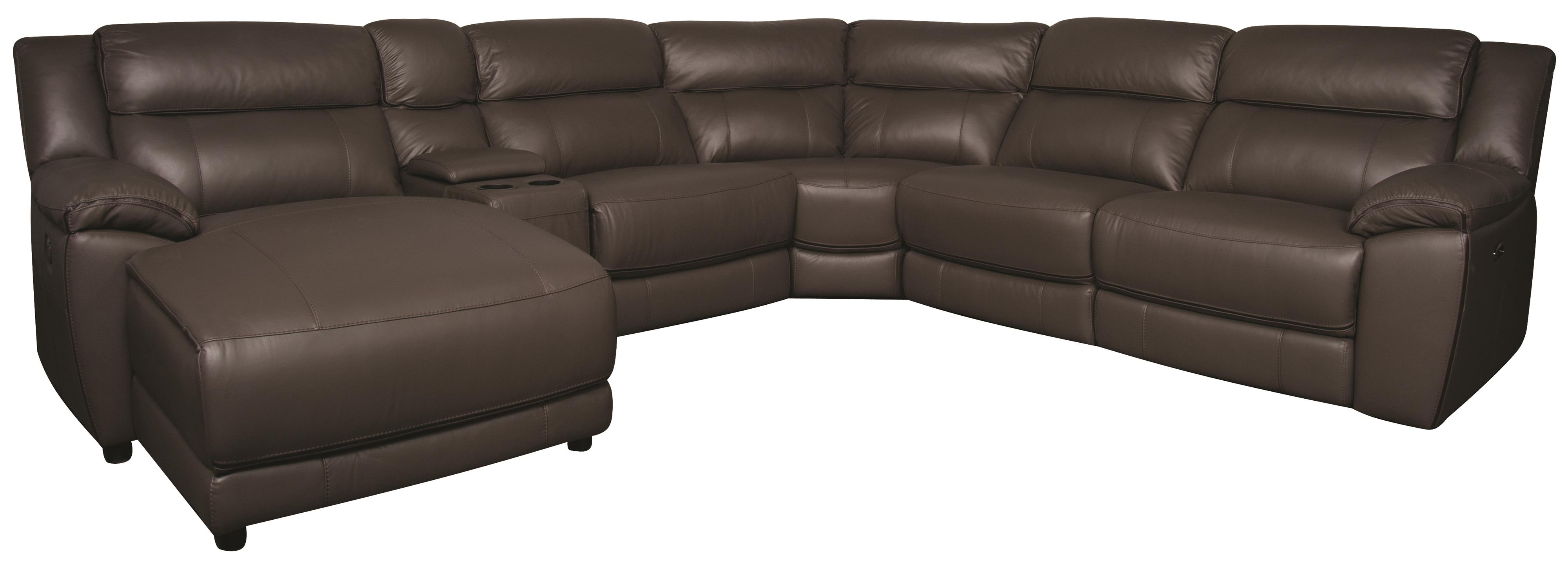 Morris Home Furnishings Ryder Ryder 6-Piece Leather-Match* Power Sectional - Item Number: 134846707