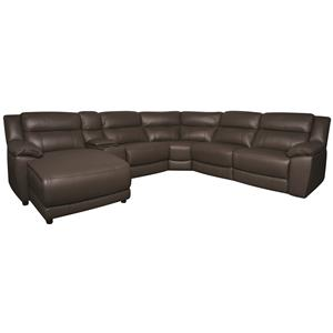 Morris Home Furnishings Ryder Ryder 6-Piece Leather-Match* Power Sectional