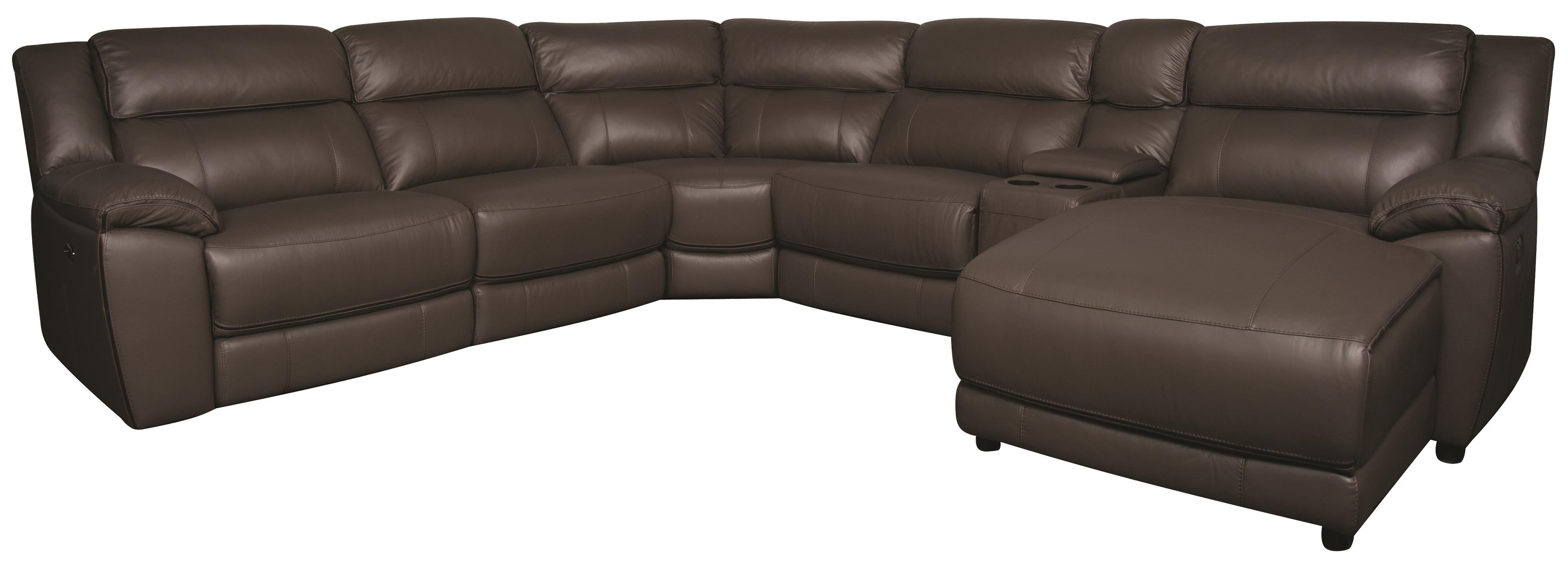 Morris Home Furnishings Ryder Ryder 6-Piece Leather-Match* Power Sectional - Item Number: 134863477