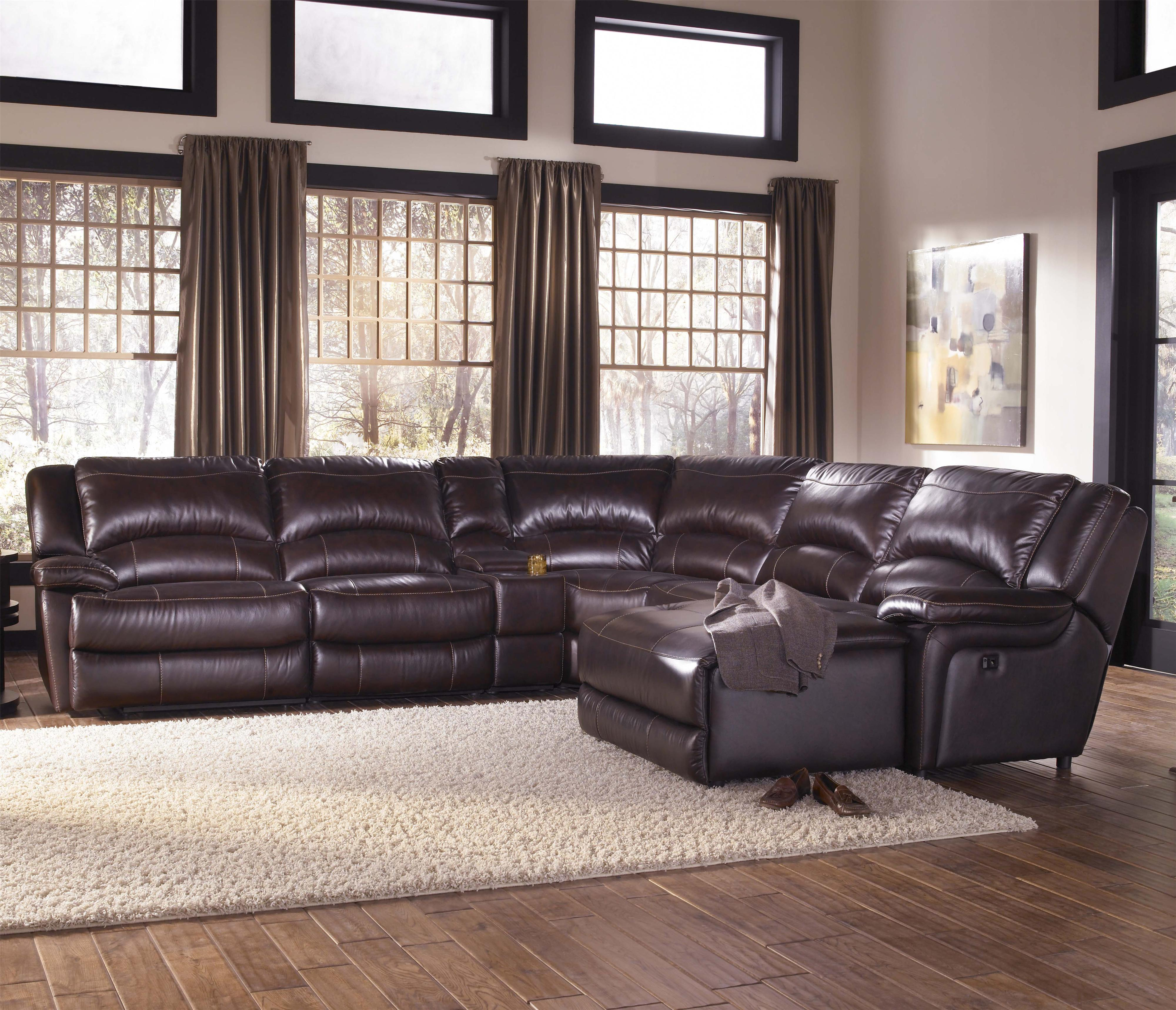 Htl T118 Casual Reclining Leather Sectional Sofa With Right