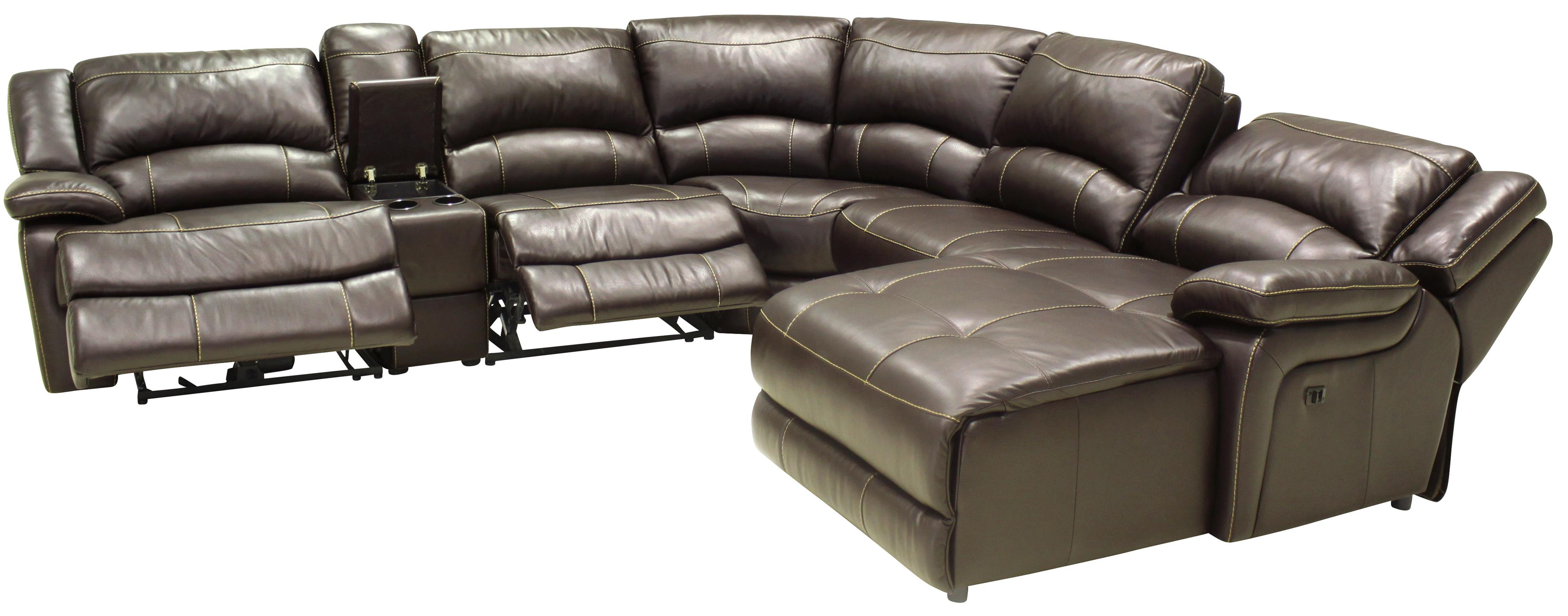 Htl T118 Casual Reclining Leather Sectional Sofa With Right Arm Facing Chaise Wilson S Furniture Reclining Sectional Sofas