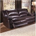 HTL T118 Casual Double-Reclining Leather Sofa with Bustle Back Cushions - T1183S2XA