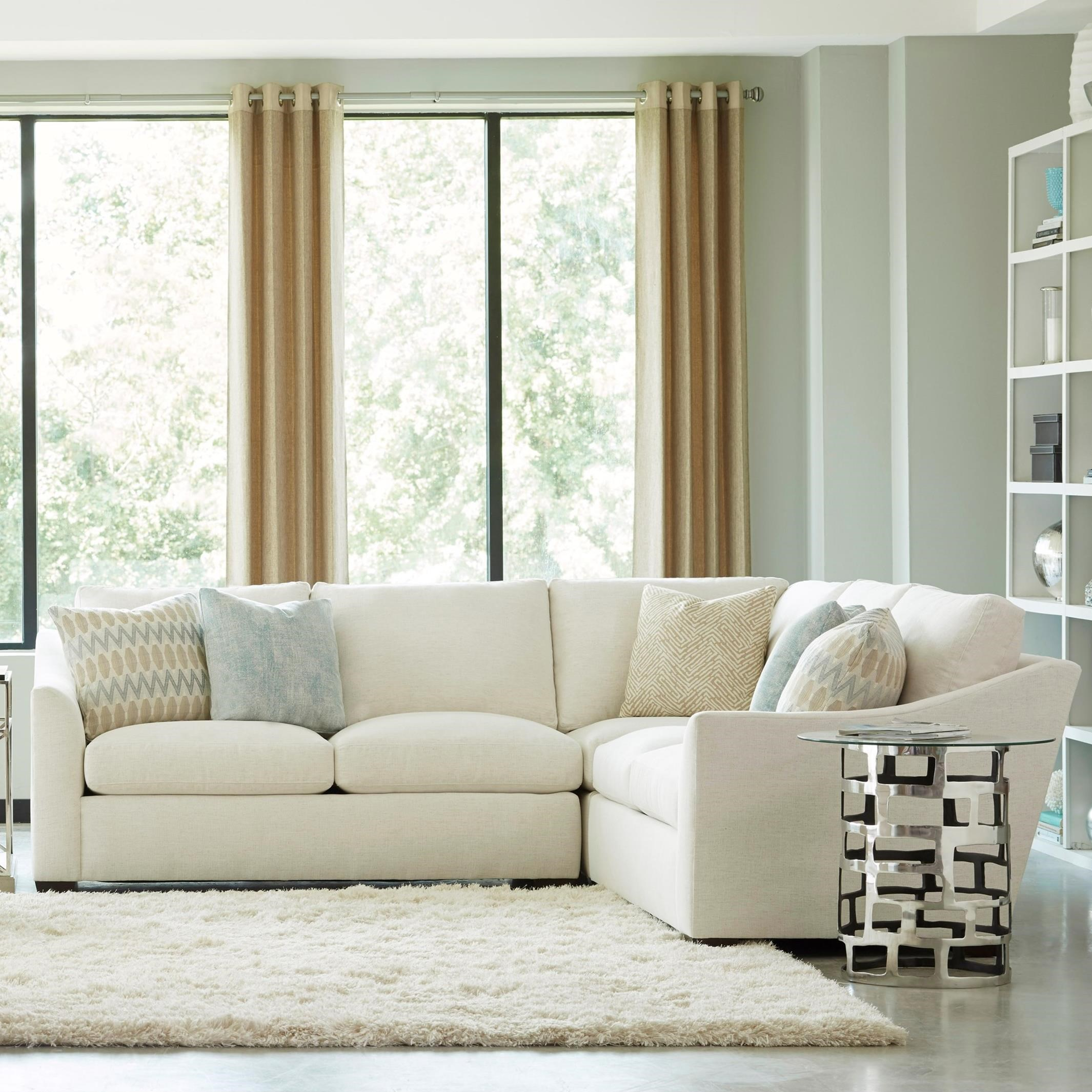 Huntington House Plush 3 Pc Sectional w/ Flare Arms - Item Number: 2300-43+31+42-PURE-1471-88