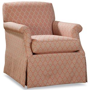Huntington House 3372 Upholstered Swivel Glider Chair with Rolled Arms and Skirt Base