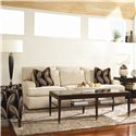 Huntington House 7117 Sofa with Exposed Wood Feet - 7117-20 - Pick your Fabric and Accent Pillows