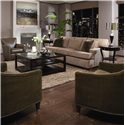Huntington House 7117 Sofa with Exposed Wood Feet - 7117-20 - Shown in Living Room with Accent Chairs