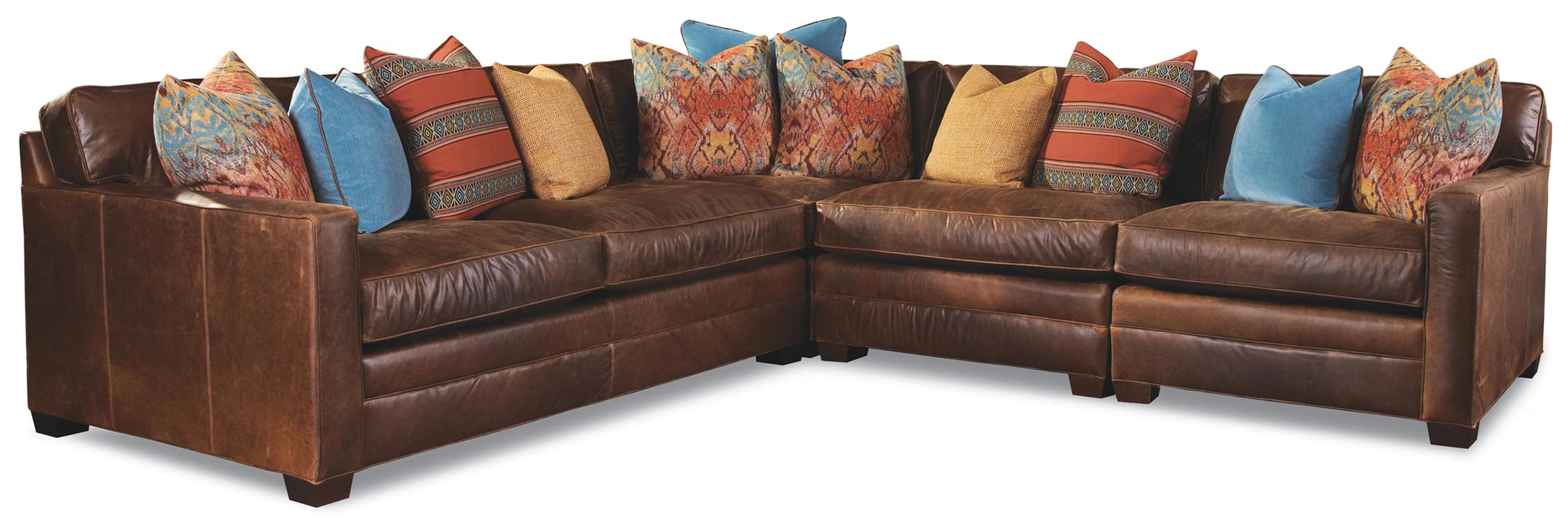 Huntington House 7164 Sectional - Item Number: 7164-43+31+51+52-LightBrownLeather