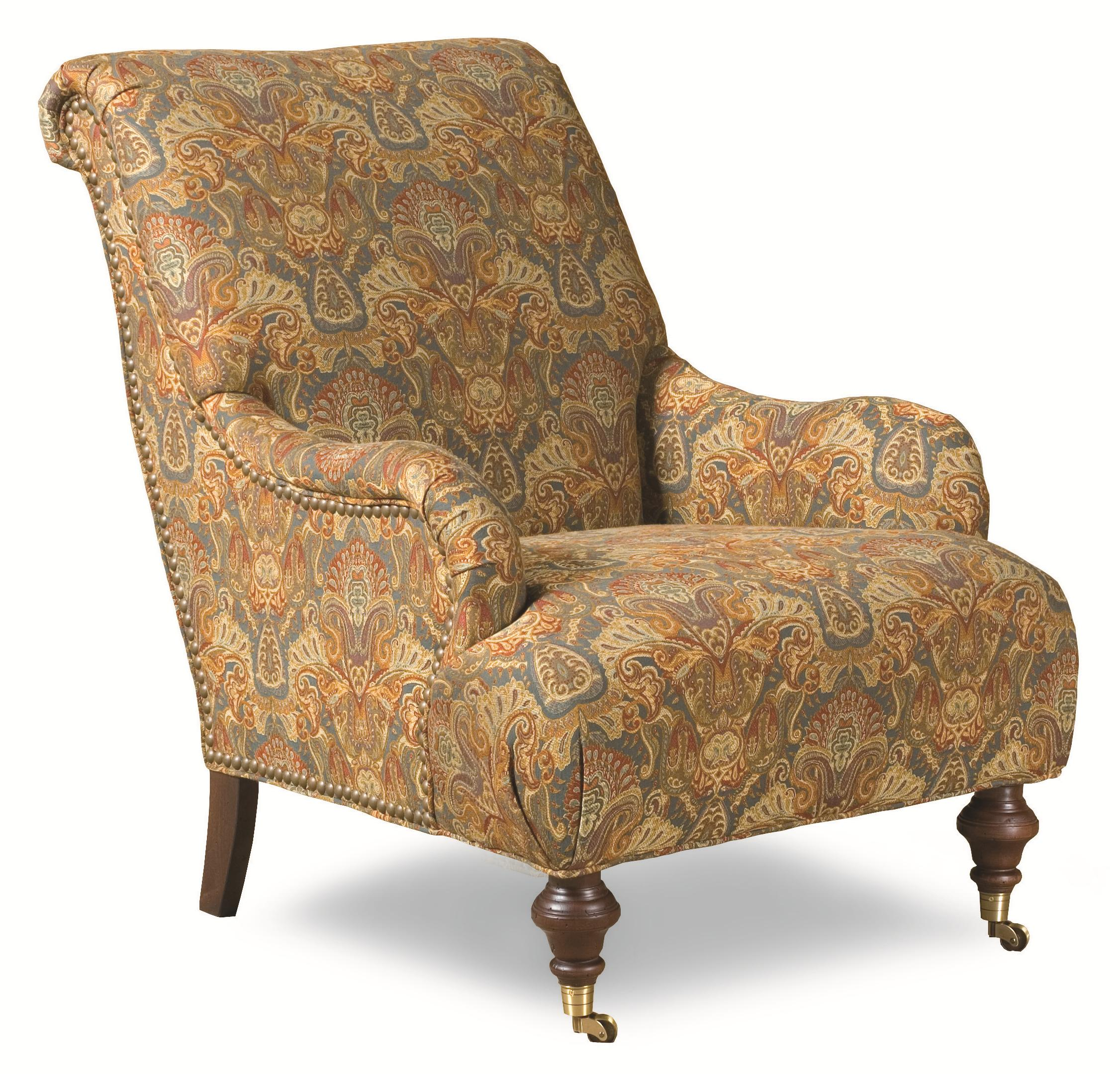 Huntington House 7372 Traditional Roll Back Chair With English Arms And  Casters   AHFA   Upholstered Chair Dealer Locator